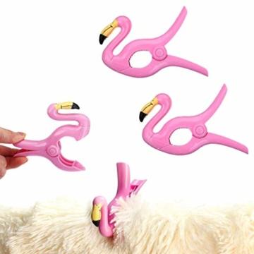 LHKJ 1 Paar Flamingo Handtuchklemmen,Kunststoff Strandtuchklammern Handtuch Clips Wäscheklammern - 4