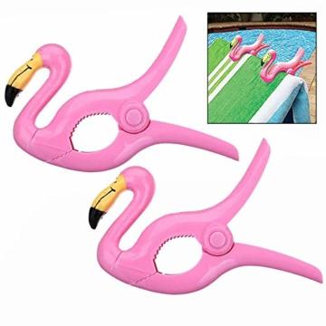LHKJ 1 Paar Flamingo Handtuchklemmen,Kunststoff Strandtuchklammern Handtuch Clips Wäscheklammern - 1