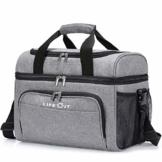 Lifewit Kühltasche Groß Einkaufstasche Faltbar Cooler Bag Sportliche Kühlbox Isoliertasche Double Decker für Sport/Picknick/Fitness/, 23L (grau) - 1