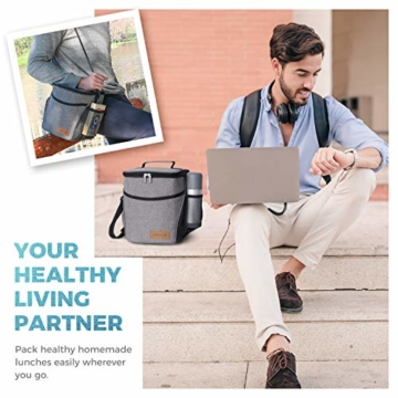 Lifewit Kühltasche klein Kühlbox faltbar Lunchtasche Mittagessen Tasche Thermotasche Isoliertasche Picknicktasche für Lebensmitteltransport Arbeit Picknick - 6