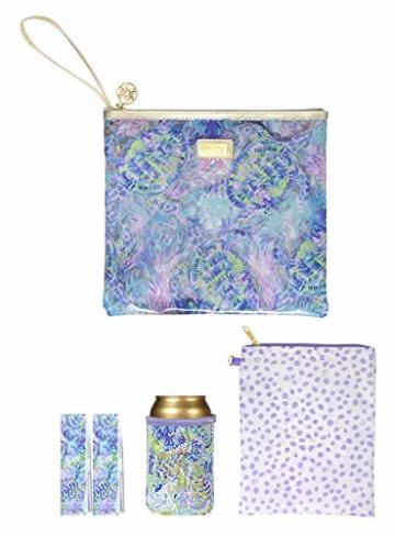 Lilly Pulitzer wasserabweisende Vinyl-Tasche für den Strand – inklusive Getränkehugger, Reißverschlusstasche und Handtuchklammern, (Muschel einer Party), Einheitsgröße - 1