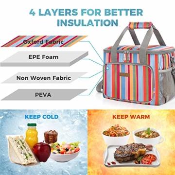 LUNCIA 15L Kühltasche Thermotasche Cooler Bag Lunchtasche Thermo Tasche Picknicktasche isoliert faltbar für Lebensmitteltransport - 5
