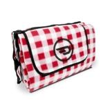 Luxamel Danura Picknickdecke Outdoor Fleece XXL wärmeisoliert wasserdicht mit praktischem Tragegriff 200x175cm (rot/weiß) - 1
