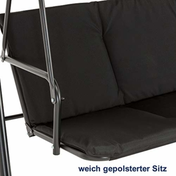 MCombo 3-Sitzer Hollywoodschaukel Gartenschaukel Gartenliege Schaukelbank 8003 (Schwarz) - 2