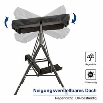 MCombo 3-Sitzer Hollywoodschaukel Gartenschaukel Gartenliege Schaukelbank 8003 (Schwarz) - 3