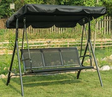 MCombo 3-Sitzer Hollywoodschaukel Gartenschaukel Gartenliege Schaukelbank 8007 (Schwarz) - 4