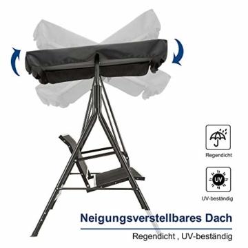 MCombo 3-Sitzer Hollywoodschaukel Gartenschaukel Gartenliege Schaukelbank 8007 (Schwarz) - 6