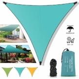 Molbory Sonnensegel Dreieckig 3x3m mit Befestigungsseile, Sonnensegel Sonnenschutz UV Schutz Windschutz Wetterschutz Wasserabweisend, Sonnenschutzsegel für Garten, Outdoor, Terrasse, Camping - 1
