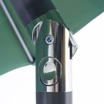 Nexos GM35106 Sonnenschirm Ø 290 cm Stahl Gestell UV Schutz UPF 50+ Gartenschirm Marktschirm mit Kurbel, neigbar Schirmstoff Grün wasserabweisend Höhe 230 cm - 2