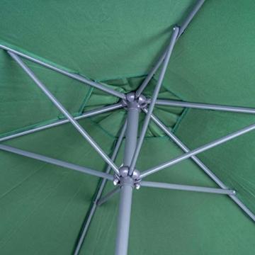 Nexos GM35106 Sonnenschirm Ø 290 cm Stahl Gestell UV Schutz UPF 50+ Gartenschirm Marktschirm mit Kurbel, neigbar Schirmstoff Grün wasserabweisend Höhe 230 cm - 3