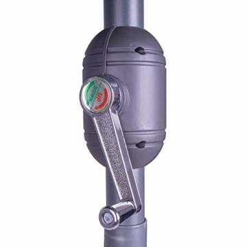 Nexos GM35106 Sonnenschirm Ø 290 cm Stahl Gestell UV Schutz UPF 50+ Gartenschirm Marktschirm mit Kurbel, neigbar Schirmstoff Grün wasserabweisend Höhe 230 cm - 4