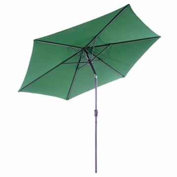 Nexos GM35106 Sonnenschirm Ø 290 cm Stahl Gestell UV Schutz UPF 50+ Gartenschirm Marktschirm mit Kurbel, neigbar Schirmstoff Grün wasserabweisend Höhe 230 cm - 1