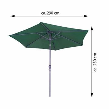 Nexos GM35106 Sonnenschirm Ø 290 cm Stahl Gestell UV Schutz UPF 50+ Gartenschirm Marktschirm mit Kurbel, neigbar Schirmstoff Grün wasserabweisend Höhe 230 cm - 8