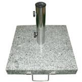 Nexos Schirmständer Sonnenschirmständer Granit eckig 45x45cm Steindicke 5cm ca. 40kg Edelstahlrohr Griff Rollen grau - 1