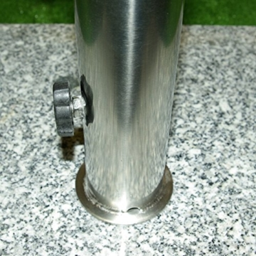 Nexos Schirmständer Sonnenschirmständer Granit eckig 45x45cm Steindicke 5cm ca. 40kg Edelstahlrohr Griff Rollen grau - 3