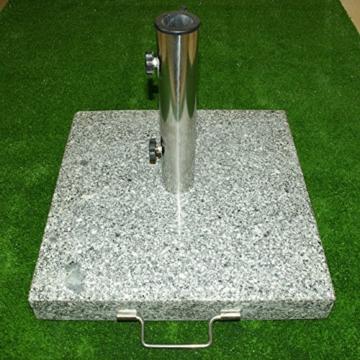 Nexos Schirmständer Sonnenschirmständer Granit eckig 45x45cm Steindicke 5cm ca. 40kg Edelstahlrohr Griff Rollen grau - 5