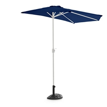 Nexos Schirmständer Sonnenschirmständer Gussoptik Polyresin halbrund Ø 49cm Plattenstärke 6,5cm ca. 9kg Stahlrohr lackiert Reduzierring schwarz - 3
