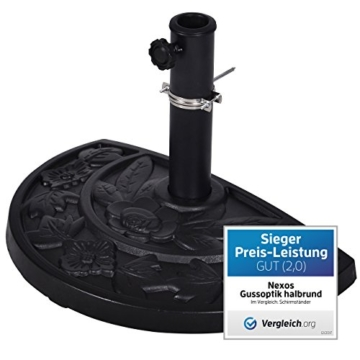 Nexos Schirmständer Sonnenschirmständer Gussoptik Polyresin halbrund Ø 49cm Plattenstärke 6,5cm ca. 9kg Stahlrohr lackiert Reduzierring schwarz - 1