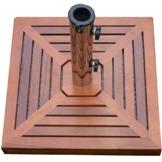 Nexos Sonnenschirm-Ständer Granit grau eckig mit Holzverkleidung rot-braun Reduzierhülsen Edelstahl-Hülse 50 x 50cm 40 kg - 1