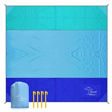 OCOOPA Stranddecke, Sandfreie Picknickdecke Strandtuch, aus Weiches Nylon mit Tasche, Wasserdicht, Blau, 200x200cm/ XL - 2