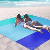OCOOPA Stranddecke, Sandfreie Picknickdecke Strandtuch, aus Weiches Nylon mit Tasche, Wasserdicht, Blau, 200x200cm/ XL - 1