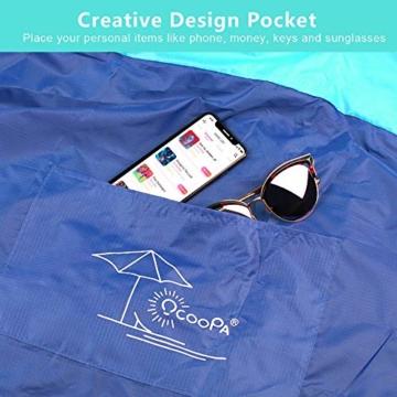 OCOOPA Stranddecke, Sandfreie Picknickdecke Strandtuch, aus Weiches Nylon mit Tasche, Wasserdicht, Blau, 200x200cm/ XL - 3