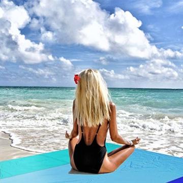 OCOOPA Stranddecke, Sandfreie Picknickdecke Strandtuch, aus Weiches Nylon mit Tasche, Wasserdicht, Blau, 200x200cm/ XL - 4