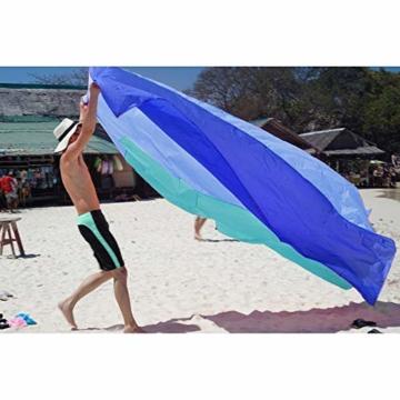 OCOOPA Stranddecke, Sandfreie Picknickdecke Strandtuch, aus Weiches Nylon mit Tasche, Wasserdicht, Blau, 200x200cm/ XL - 6