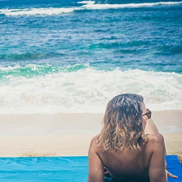 OCOOPA Stranddecke, Sandfreie Picknickdecke Strandtuch, aus Weiches Nylon mit Tasche, Wasserdicht, Blau, 200x200cm/ XL - 7
