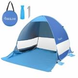 Osaloe Strandmuschel, UV Schutz 50+ Pop Up Strandzelt für 1-3 Personen, Tragbares Campingzelt zum Wandern, Picknicken, Angeln, Garten- und Outdoor-Aktivitäten (Blau) - 1