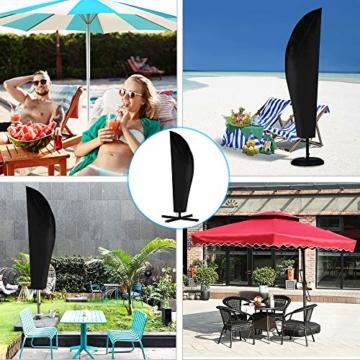 otumixx Ampelschirm Schutzhülle mit Stab, 2 bis 4 M Große Sonnenschirm Schutzhülle Wasserdicht UV-Anti Winddicht Sonnenschirmhülle für Ampelschirm, 280x30/81/45cm - Schwarz - 3