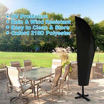 otumixx Ampelschirm Schutzhülle mit Stab, 2 bis 4 M Große Sonnenschirm Schutzhülle Wasserdicht UV-Anti Winddicht Sonnenschirmhülle für Ampelschirm, 280x30/81/45cm - Schwarz - 4