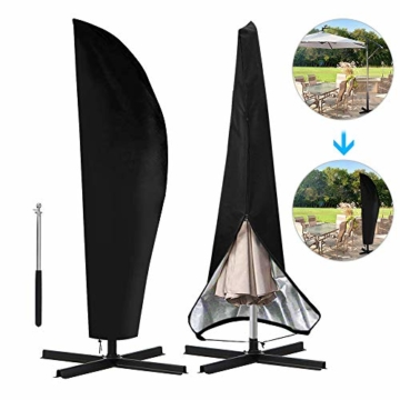 otumixx Ampelschirm Schutzhülle mit Stab, 2 bis 4 M Große Sonnenschirm Schutzhülle Wasserdicht UV-Anti Winddicht Sonnenschirmhülle für Ampelschirm, 280x30/81/45cm - Schwarz - 1