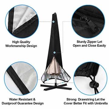 otumixx Ampelschirm Schutzhülle mit Stab, 2 bis 4 M Große Sonnenschirm Schutzhülle Wasserdicht UV-Anti Winddicht Sonnenschirmhülle für Ampelschirm, 280x30/81/45cm - Schwarz - 6