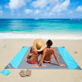 OUSPT Picknickdecke 210 x 200 cm, Stranddecke wasserdichte, Sandabweisende Campingdecke 4 Befestigung Ecken, Ultraleicht kompakt Wasserdicht und sandabweisend (Grau) - 1