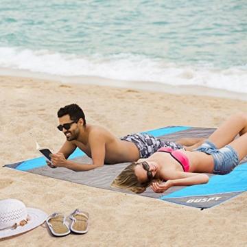 OUSPT Picknickdecke 210 x 200 cm, Stranddecke wasserdichte, Sandabweisende Campingdecke 4 Befestigung Ecken, Ultraleicht kompakt Wasserdicht und sandabweisend (Grau) - 3