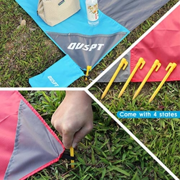 OUSPT Picknickdecke 210 x 200 cm, Stranddecke wasserdichte, Sandabweisende Campingdecke 4 Befestigung Ecken, Ultraleicht kompakt Wasserdicht und sandabweisend (Grau) - 4