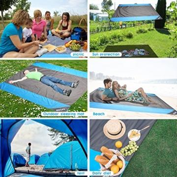 OUSPT Picknickdecke 210 x 200 cm, Stranddecke wasserdichte, Sandabweisende Campingdecke 4 Befestigung Ecken, Ultraleicht kompakt Wasserdicht und sandabweisend (Grau) - 5