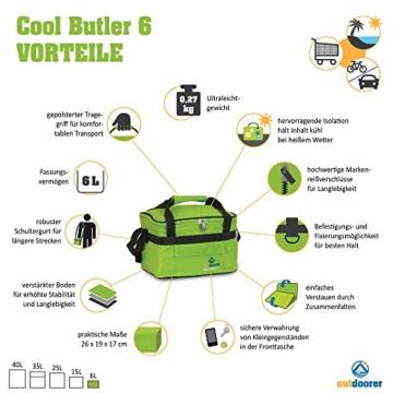outdoorer Kleine Kühltasche Cool Butler 6, grün, mit Außentasche - 5