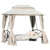 Outsunny 3-Sitzer Hollywoodschaukel Gartenschaukel Pavillon mit Seitenwänden Liegefunktion Stahl + Polyester Beige 245 x 165 x 243 cm - 1