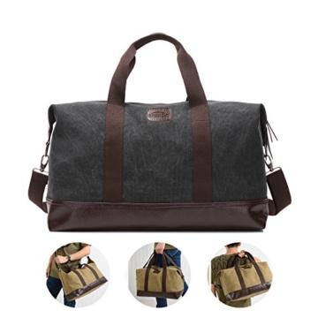 Overmont 36I Vintage Canvas Unisex Reisetasche Gym Tasche Weekender Tasche Handgepäck Sporttasche für Reise am Wochenend Urlaub Khaki/Schwarz/Grau/Militärgrün/Braun - 2