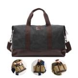 Overmont 36I Vintage Canvas Unisex Reisetasche Gym Tasche Weekender Tasche Handgepäck Sporttasche für Reise am Wochenend Urlaub Khaki/Schwarz/Grau/Militärgrün/Braun - 1