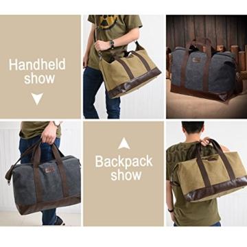 Overmont 36I Vintage Canvas Unisex Reisetasche Gym Tasche Weekender Tasche Handgepäck Sporttasche für Reise am Wochenend Urlaub Khaki/Schwarz/Grau/Militärgrün/Braun - 5