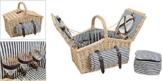 Picknickkorb, blau-weiß, gestreift | Picknick Set für 4 Personen | 26 Teile - 1