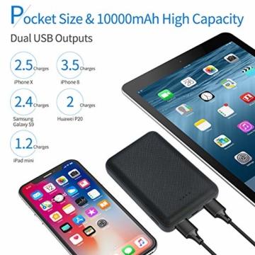 POSUGEAR Powerbank 10000mAh, Power Bank mit 2 Ausgängen (2.1A+1A) Kompatibel mit Allen Handys und Tablets (Schwarz) - 3
