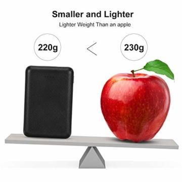 POSUGEAR Powerbank 10000mAh, Power Bank mit 2 Ausgängen (2.1A+1A) Kompatibel mit Allen Handys und Tablets (Schwarz) - 4
