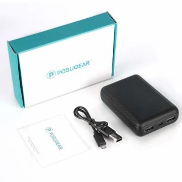 POSUGEAR Powerbank 10000mAh, Power Bank mit 2 Ausgängen (2.1A+1A) Kompatibel mit Allen Handys und Tablets (Schwarz) - 6