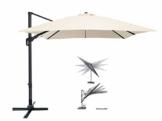 Pure Home & Garden Ampelschirm Roma 300x300 cm in Natur inklusive Ständer, sowohl axial als auch am Mast verstellbar, UV-Schutz 50 Plus - 1