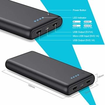 Pxwaxpy Powerbank,【26800mah-Neu Extrem Hohe Kapazität】Externer Akku mit 2 Output USB Schnellladung Max 2,1A , Akkupack mit 4 LED Anzeige Ultra Kompakte Externes Ladegerät für Handy, Tablet - 6