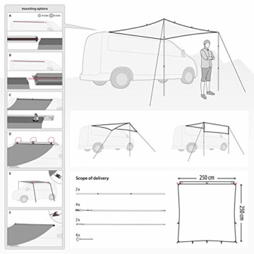 Qeedo Motor Tarp Bus Sonnensegel mit Keder, UV80 Schutz & Dark-Coating, Campingbus, Wohnwagen, Bus Markise - 2